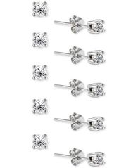 Image of Giani Bernini 5-Pc. Set Cubic Zirconia Stud Earrings, Created for Macy's
