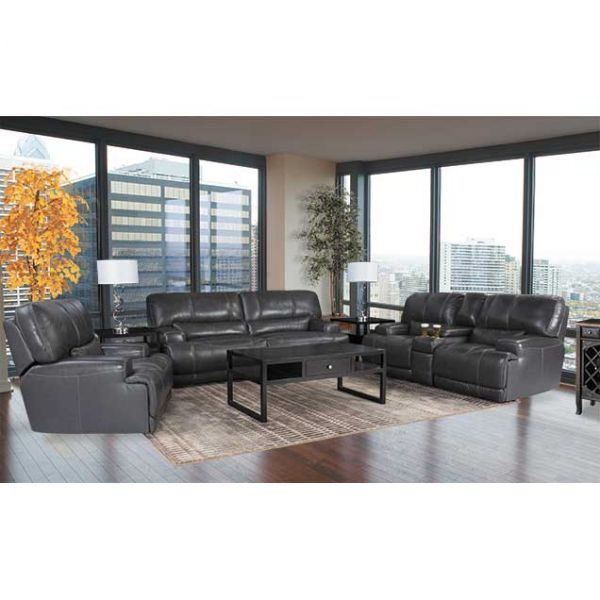 Image of Charcoal Leather Power Recline Sofa