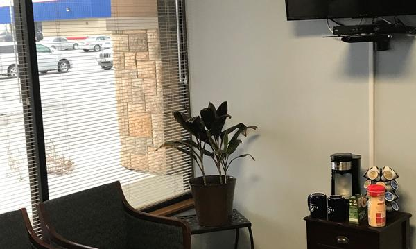 Corner view of the office with a plant.