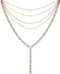 "Image of I.N.C. Gold-Tone Colored Stone Multi-Row Y Necklace, 12"" + 3"" extender, Created for Macy's"
