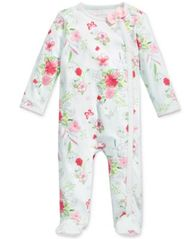 Image of First Impressions 1-Pc. Floral-Print Footed Coverall, Baby Girls, Created for Macy's