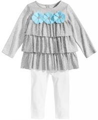 Image of First Impressions 2-Pc. Ruffle Tunic & Leggings Set, Baby Girls, Created for Macy's