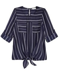 Image of Monteau Big Girls Striped Tie-Front Hacci Top