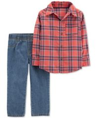 Image of Carter's Toddler Boys 2-Pc. Plaid Flannel Cotton Shirt & Pull-On Jeans Set