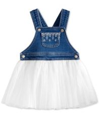 Image of First Impressions Embroidered Denim & Tulle Jumper Dress, Baby Girls, Created for Macy's