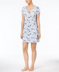 Image of Charter Club Printed Cotton Knit Sleepshirt With Matching Socks, Created for Macy's