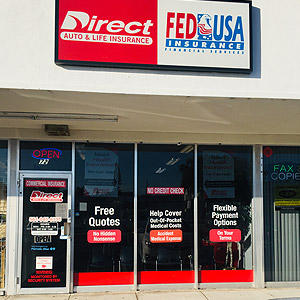 Front of Direct Auto store at 72 East Blue Heron Boulevard, Riviera Beach