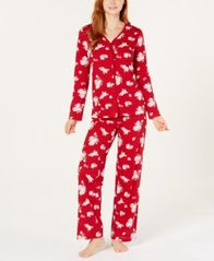 Image of Charter Club Cotton Long Sleeve Button Front Pajama Set, Created for Macy's