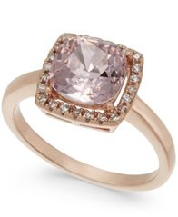 Image of Charter Club Rose Gold-Tone Crystal Square Halo Ring, Created for Macy's