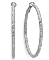 Image of INC International Concepts Silver-Tone Small Textured Hoop Earrings