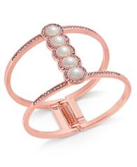 Image of I.N.C. Rose Gold-Tone Pavé & Imitation Pearl Open Hinged Cuff Bracelet, Created for Macy's