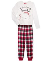 Image of Family Pajamas Boys' or Girls' Buffalo Plaid Wide Awake Pajama Set, Created for Macy's