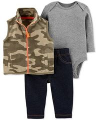 Image of Carter's Baby Boys 3-Pc. Fleece Vest, Bodysuit & Leggings Set