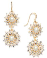 Image of Charter Club Gold-Tone Imitation Pearl & Crystal Double Drop Earrings, Created for Macy's