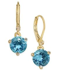 Image of kate spade new york Gold-Tone Blue Crystal Drop Earrings