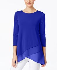 Image of Alfani Chiffon Crossover-Hem Top, Created for Macy's