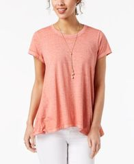 Image of Style & Co Burnout Handkerchief-Hem T-Shirt, Created for Macy's