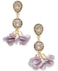 Image of I.N.C. Gold-Tone Crystal Petal Double Drop Earrings, Created for Macy's