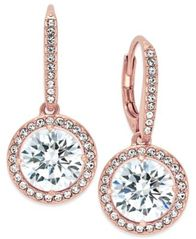 Image of Danori Rose Gold-Tone Round Crystal and Pavé Drop Earrings, Created for Macy's