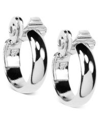Image of Anne Klein Silver-Tone Medium Hoop Earrings