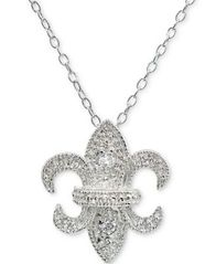 "Image of Giani Bernini Cubic Zirconia Fleur-de-lis Pendant Necklace in Sterling Silver, 16"" + 2"" extender, Cr"