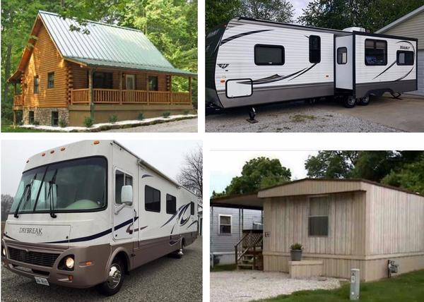 Log Cabin, RV, Mobile Home insurance, and Mobile Home Park insurance.