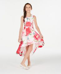 Image of Speechless Big Girls Floral-Print High-Low Hem Dress