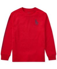 Image of Ralph Lauren Logo-Print Cotton Long-Sleeve T-Shirt, Big Boys