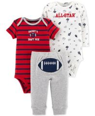 Image of Carter's Baby Boys 3-Pc. Football Cotton Bodysuits & Pants Set