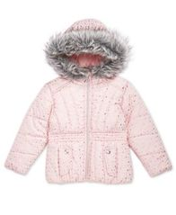 Image of S. Rothschild Little Girls Printed Puffer Jacket with Faux-Fur Trim