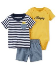Image of Carter's 3-Pc. Cotton Striped T-Shirt, Bodysuit & Chambray Shorts Set, Baby Boys