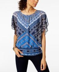Image of JM Collection Flutter-Sleeve Banded Hem Top, Created for Macy's