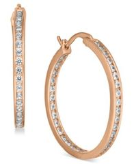 Image of Essentials Silver Plated Crystal Inside Out Hoop Earrings