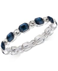 Image of Anne Klein Silver-Tone Blue & Clear Crystal Stretch Bracelet