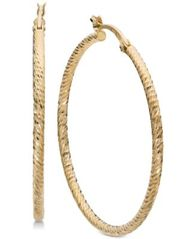 Image of Giani Bernini Textured Hoop Earrings in 18k Gold-Plated Sterling Silver, Created for Macy's