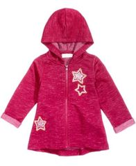 Image of First Impressions Marled Stars Zip-Up Hoodie, Baby Girls (0-24 months), Created for Macy's