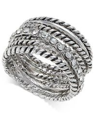 Image of I.N.C. Textured Pavé Statement Ring, Created for Macy's