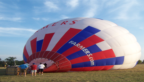 Blowing up the Farmers® hot air balloon at the LPGA Tournament.