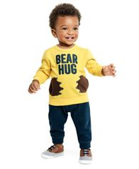 Image of Carter's Baby Boys 2-Pc. Bear Hug Graphic Top & Jogger Pants Set