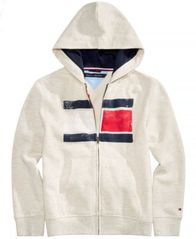 Image of Tommy Hilfiger Big Boys Logo-Print Zip-Up Hoodie
