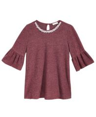 Image of Monteau Bell-Sleeve Necklace Top, Big Girls (7-16)