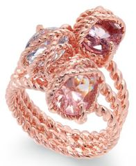 Image of Charter Club Rose Gold-Tone Stone Trio Rope Ring, Created for Macy's