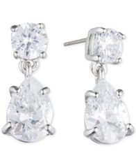 Image of Givenchy Silver-Tone Crystal Pear-Shape Earrings