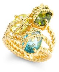 Image of Charter Club Gold-Tone Three Stone-Wrapped Twisted Ring