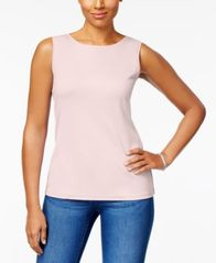 Image of Karen Scott Cotton Sleeveless Crew-Neck Top In Regular & Petite Sizes, Created for Macy's