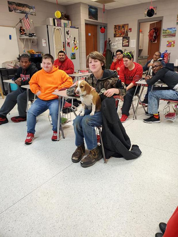 High School SPED class and their dog Lemon