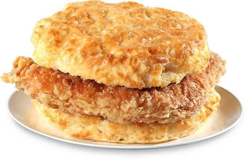 """Bojangles' Cajun Filet Biscuit on a white plate."""