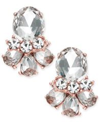 Image of Charter Club Rose Gold-Tone Crystal Cluster Stud Earrings, Created for Macy's