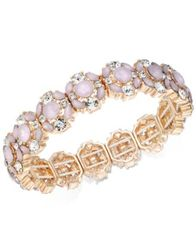 Image of Charter Club Rose Gold-Tone Crystal & Pink Stone Stretch Bracelet, Created for Macy's