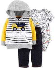 Image of Carter's Baby Boys 3-Pc. Cotton Construction Hoodie, Printed Bodysuit & Jeans Set